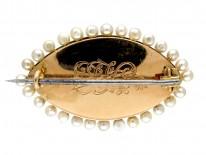 Edwardian Double Heart Enamel & Diamond Brooch