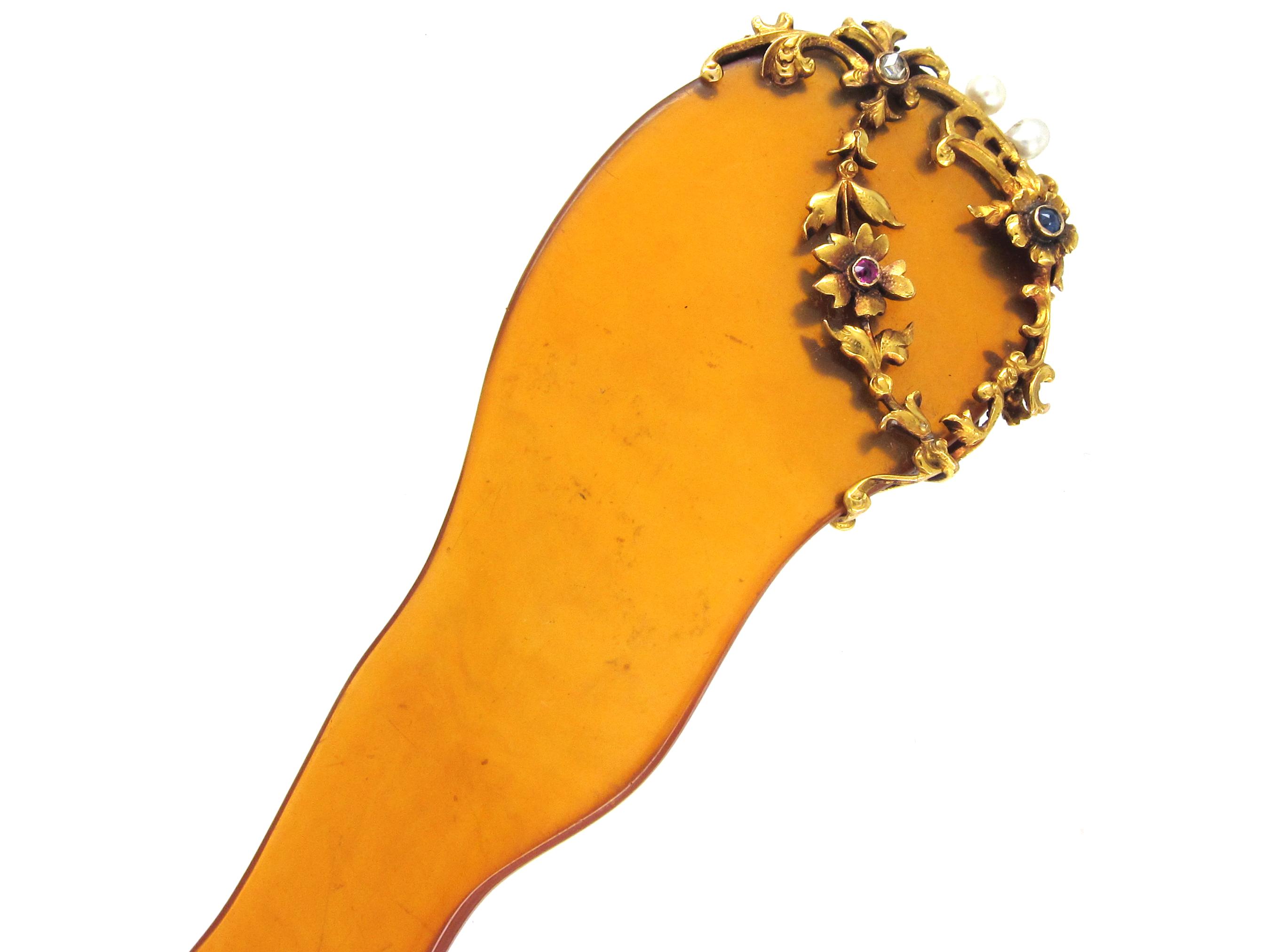 Edwardian Tortoiseshell & Gem Set Hair Ornament