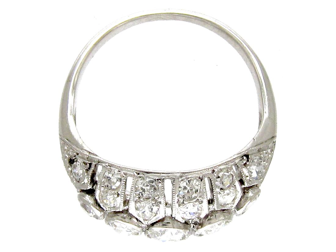 Diamond Set Art Deco Bombé Shape Ring