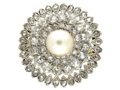 Edwardian Large 18ct Gold, Silver, Diamond & Natural Pearl Cluster Ring