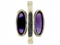 Double Cabochon Amethyst Silver Ring