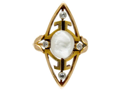 Natural Pearl & Diamond Art Nouveau Ring