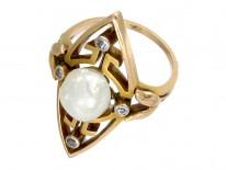Natural Pearl & Diamond Art Nouveau Ring