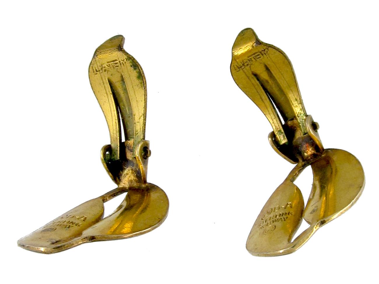 David Andersen Silver & Enamel Leaf Earrings