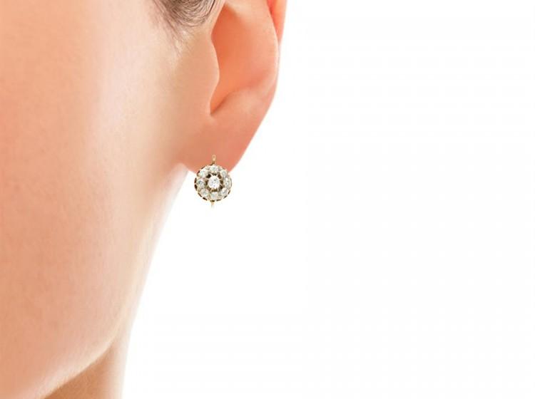 Victorian Diamond Cluster Earrings