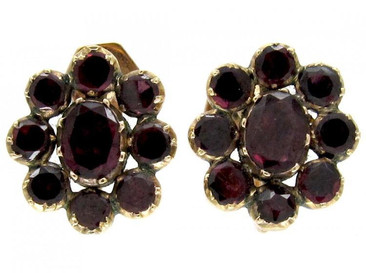 Georgian Flat Cut Garnet Cluster Earrings