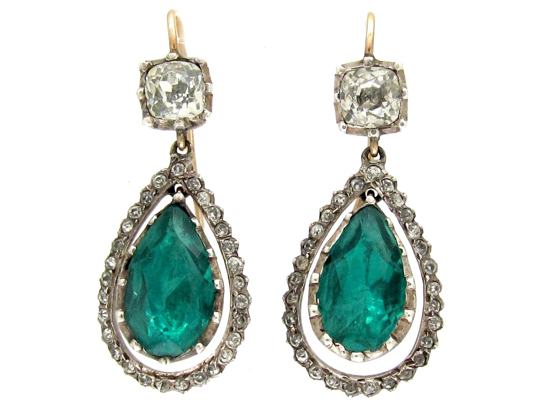 Victorian Green & White Paste Drop Earrings