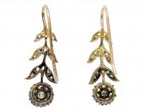 Edwardian Diamond Flower Drop Earrings