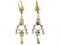 Long Drop Edwardian Silver & Gold Marcasite Earrings