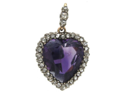 Edwardian Silver & 15ct Gold, Diamond & Amethyst Heart Pendant