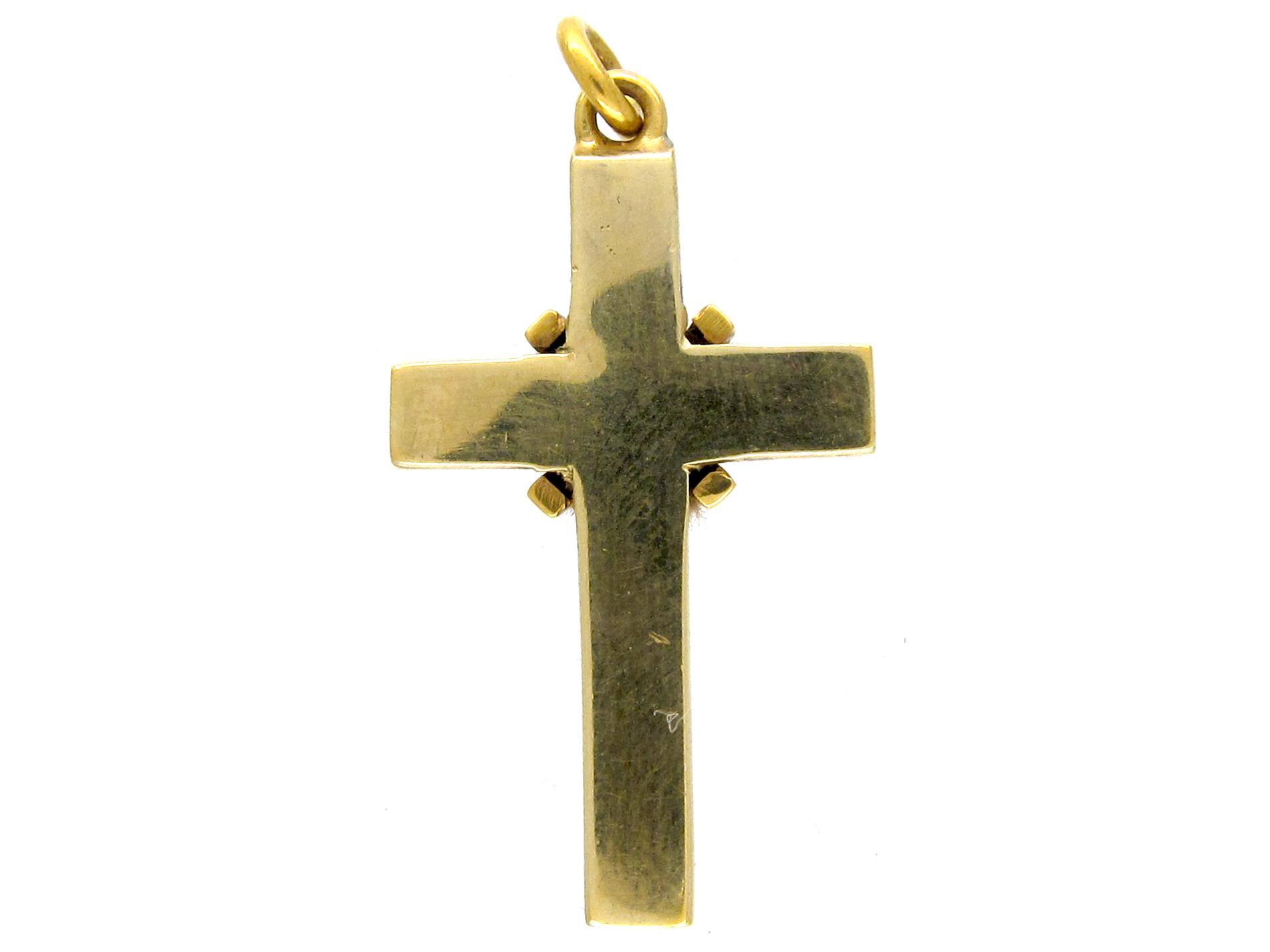 Victorian Natural Split Pearl & Diamond Cross Pendant