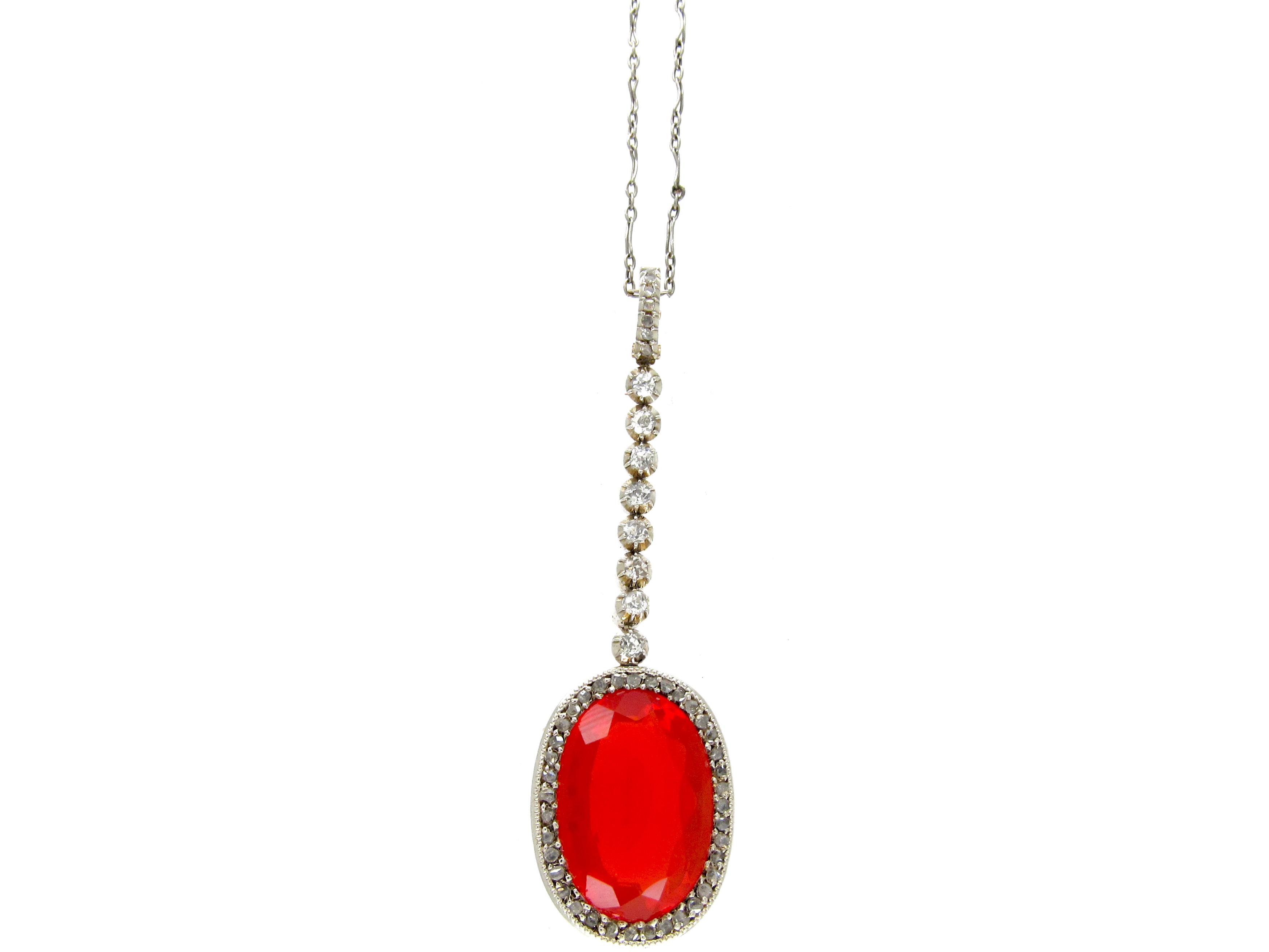 Fire Opal & Diamond Art Deco Pendant on Platinum Chain