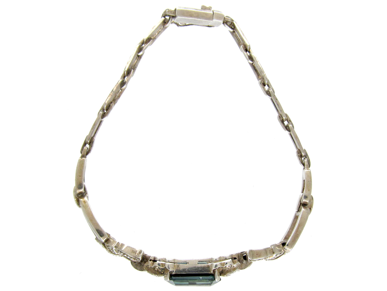 Art Deco Silver & Green Paste Bracelet