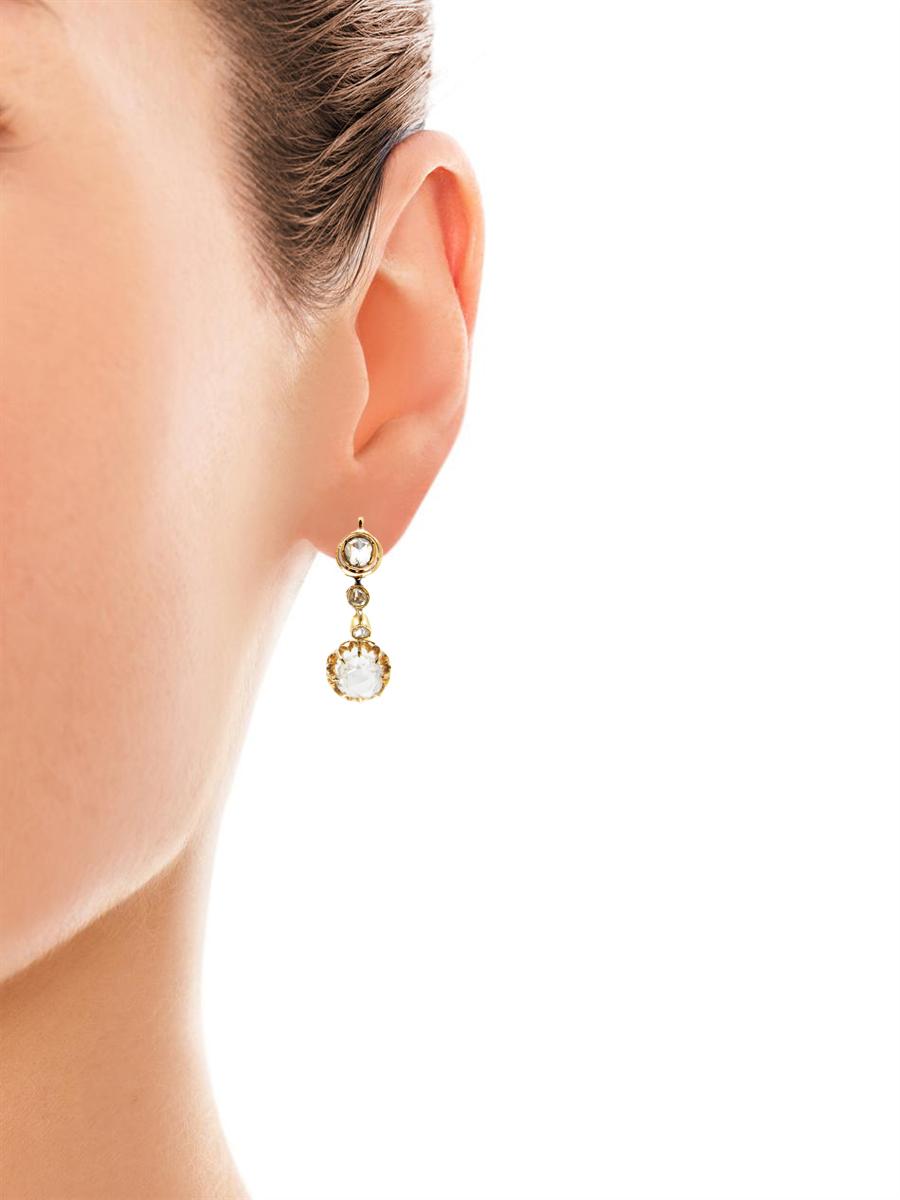 French Rose Diamond Drop Earrings