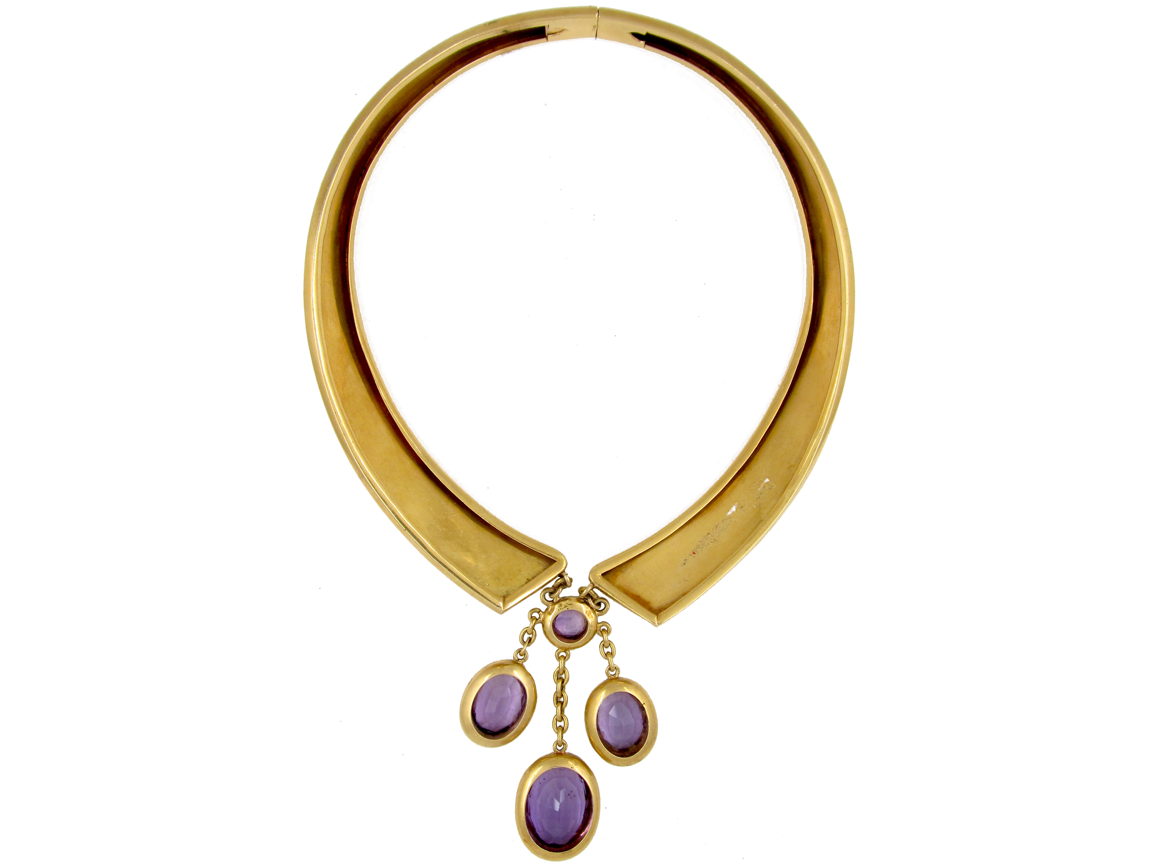 18ct Gold French Collar with Amethyst Drops