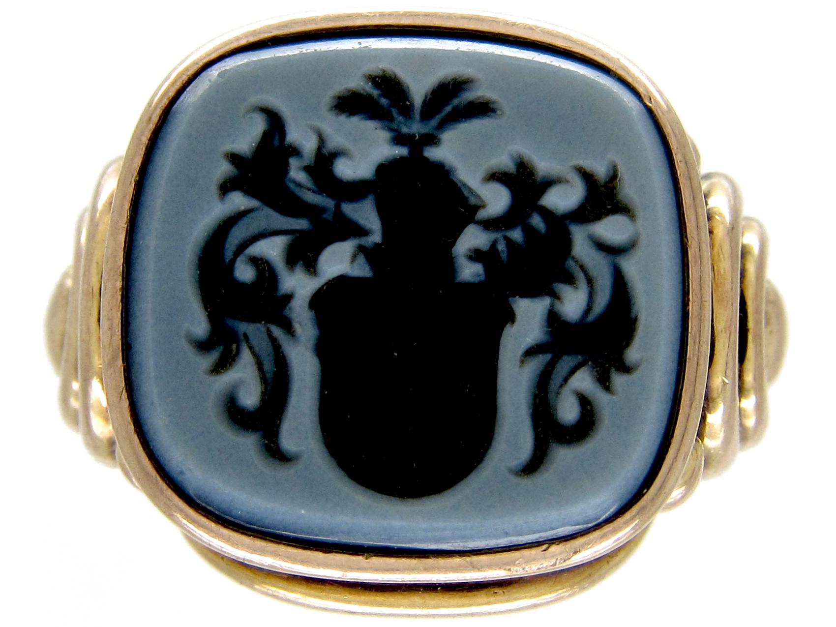 Sardonyx Intaglio Signet Ring