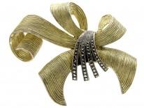 Theodor Fahrner Marcasite & Silver gilt brooch of bow design