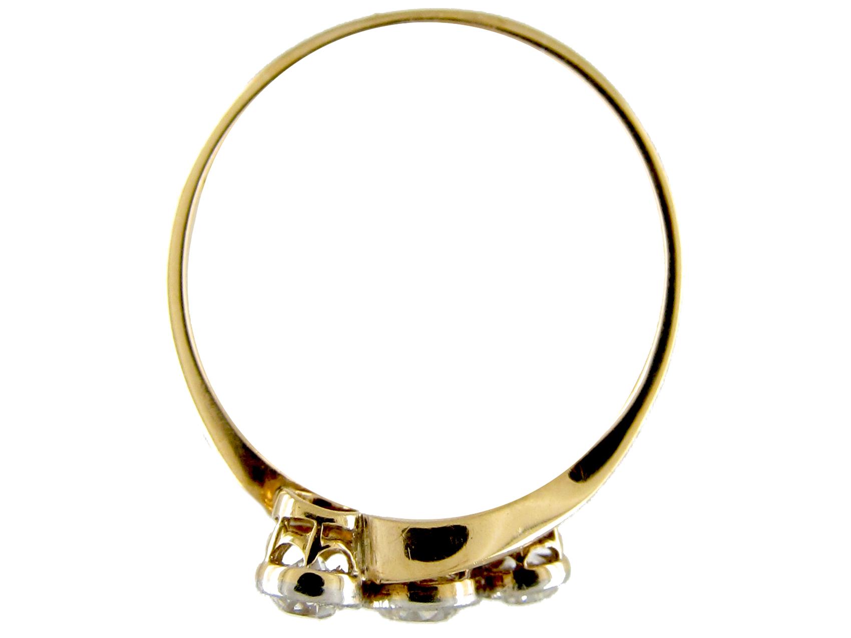 Art Nouveau Three Stone Diamond Twist Ring