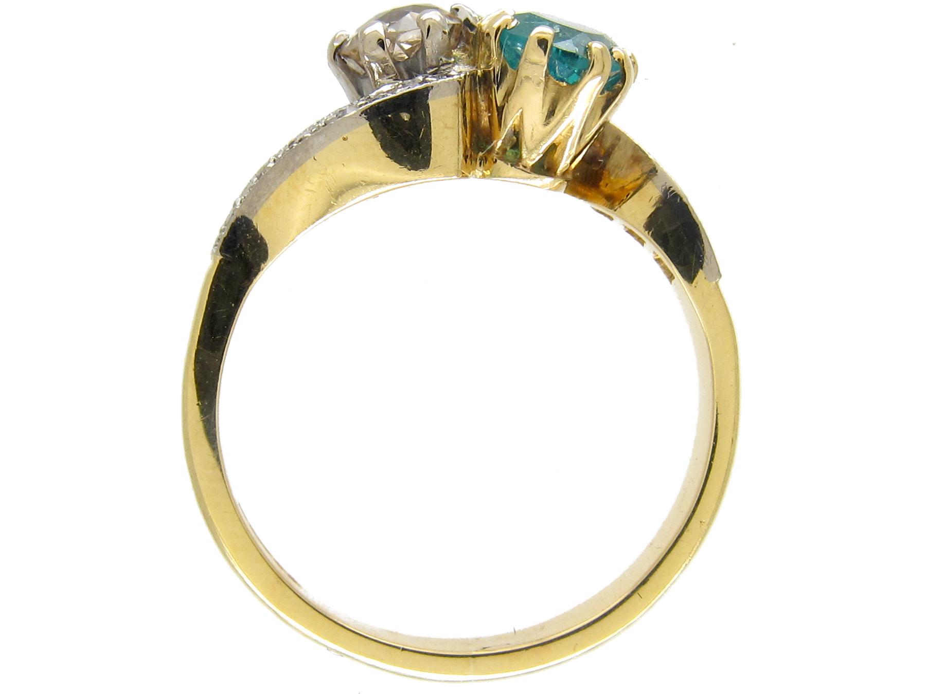 18ct Gold & Platinum Emerald & Diamond Twist Ring