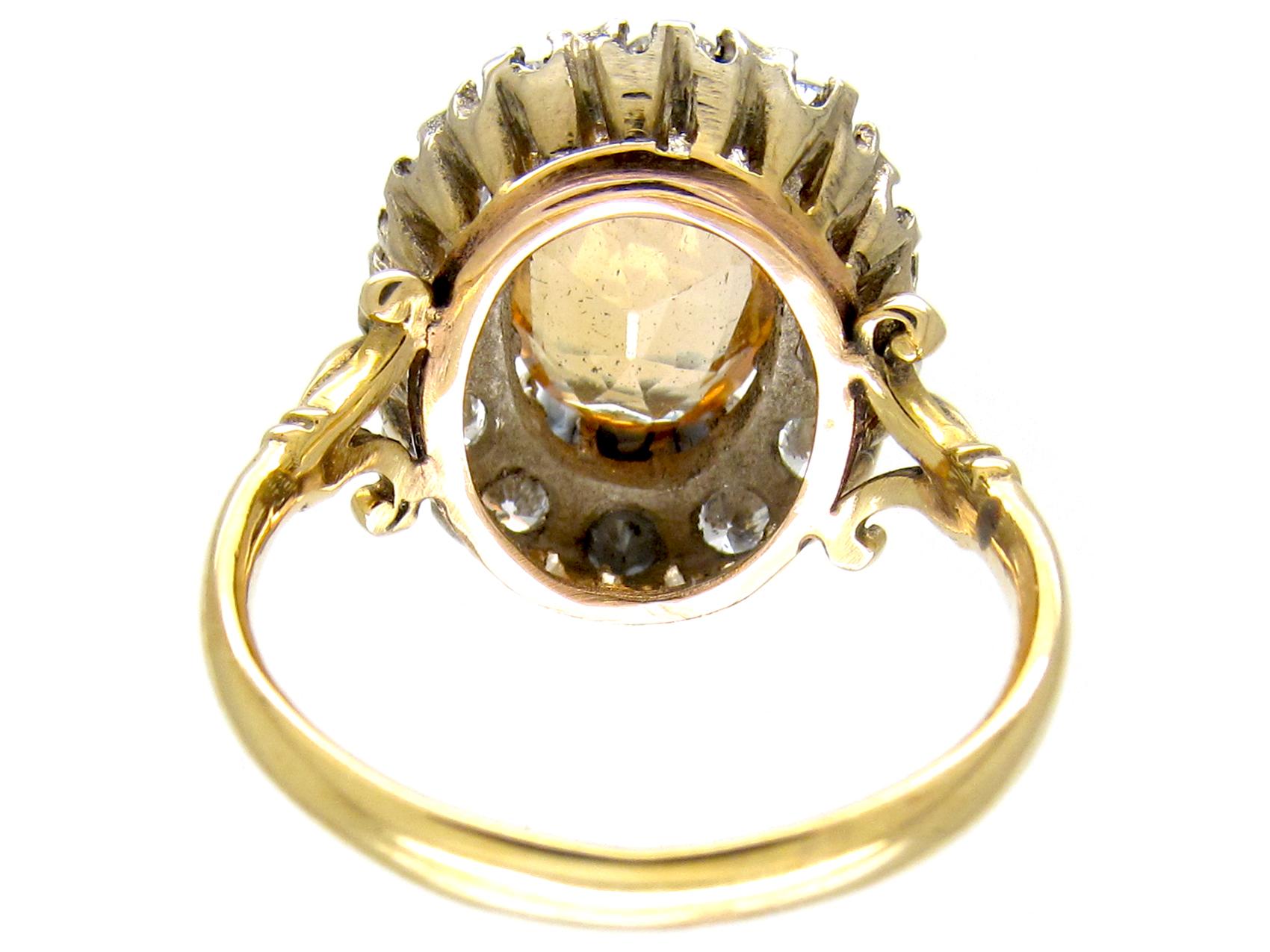 Topaz & Diamond Antique Cluster Ring