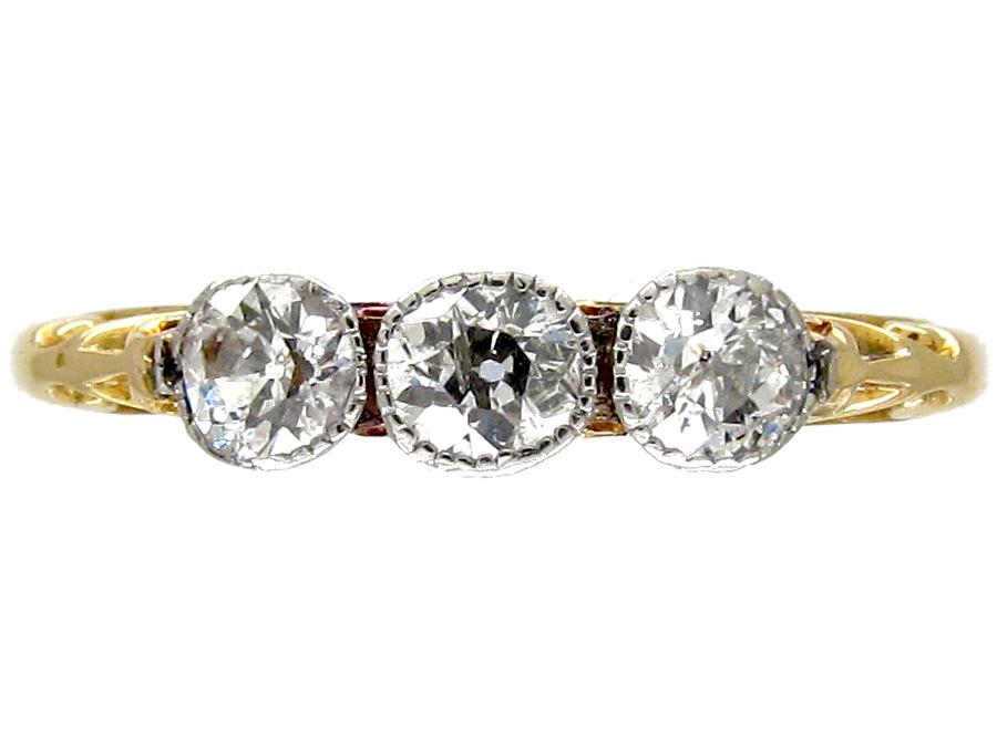 Diamond Three Stone Edwardian Ring