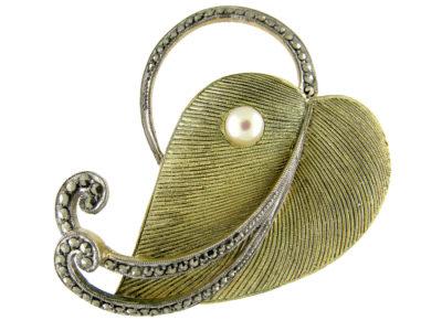 Theodor Fahrner Silver Gilt Leaf Brooch