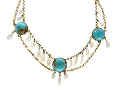 Turquoise ​& Mississippi Pearl Necklace by Murrle Bennett