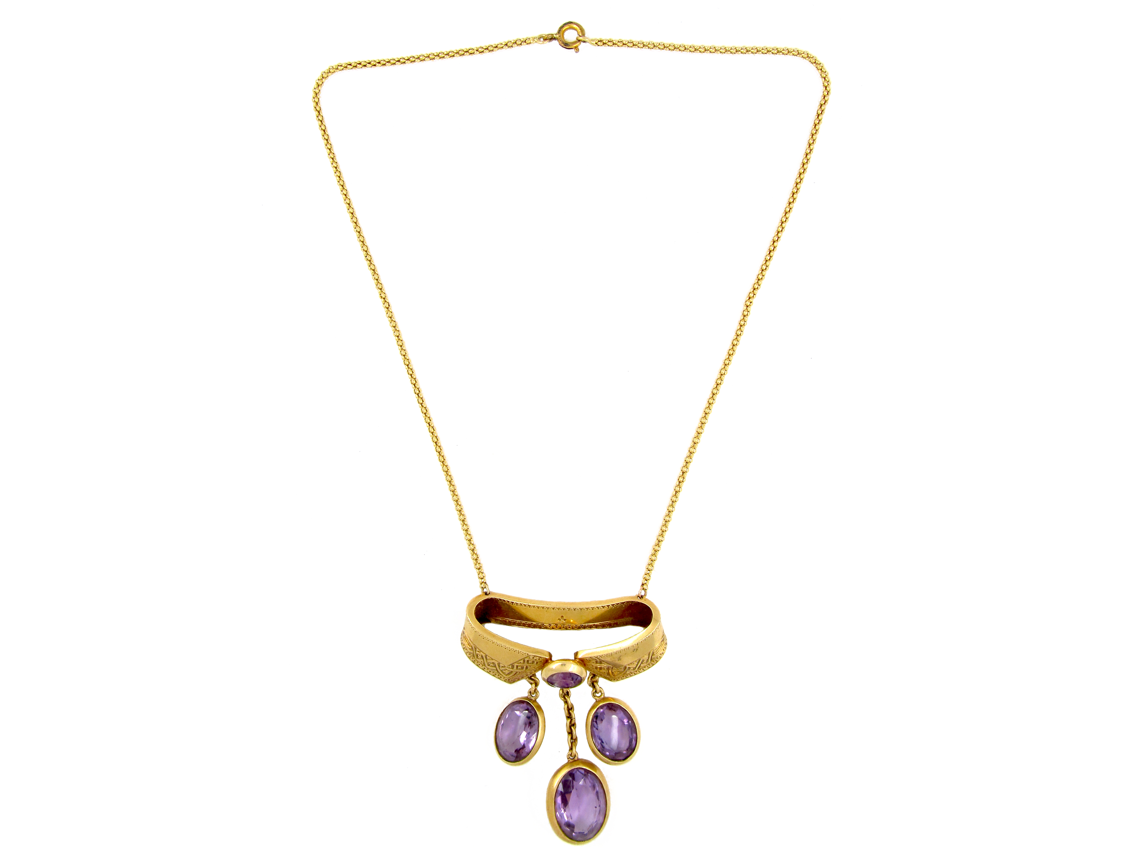 French 18ct Gold & Amethyst Necklace