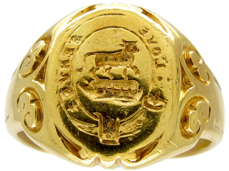 18ct Gold Signet Ring with the Motto 'Love Serves'