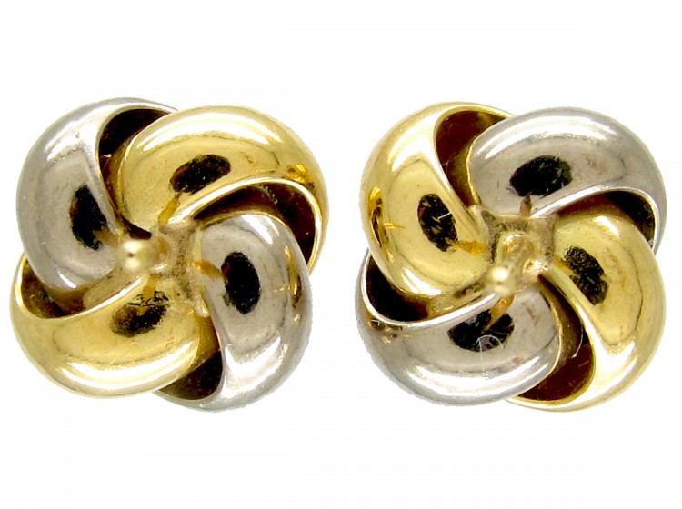 18ct Two Colour Gold Knot Earrings