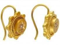 Victorian 15ct Gold & Diamond Earrings
