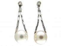 Large Cultured Pearl & Diamond Drop Earrings