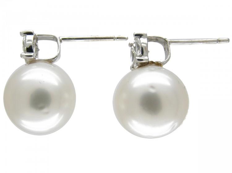 Large Cultured Pearl & Diamond Earstuds
