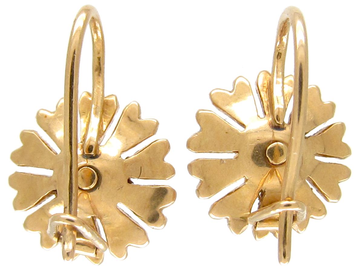 Edwardian Gold & Diamond Daisy Earrings