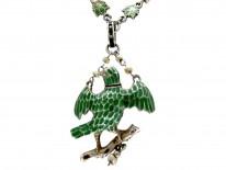 Austro- Hungarian Silver Enamel & Ruby Bird Necklace