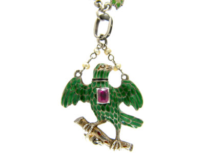 Austro- Hungarian Silver Enamel & Ruby Bird Necklace