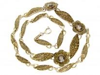 Theodor Fahrner Silver Gilt & Smokey Quartz Necklace