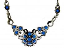 Marcasite & Blue Paste Silver Necklace