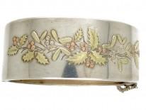 Silver Victorian Three colour Gold Overlay Bangle