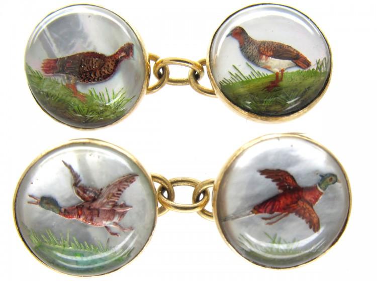 Reverse Intaglio Rock Crystal Game Bird 18ct Gold Victorian Cufflinks