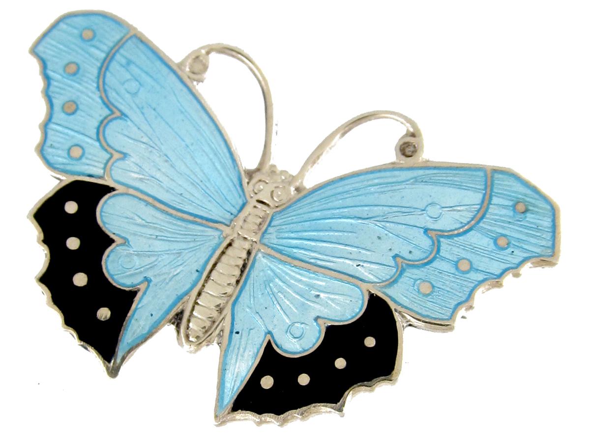 Silver & Enamel Butterfly Brooch
