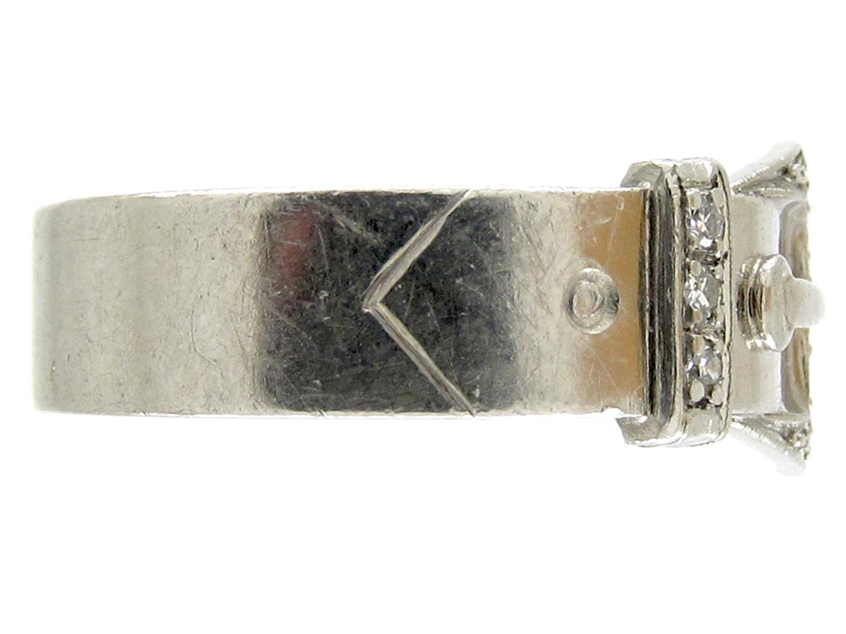 Platinum & Diamond Art Deco Buckle Ring