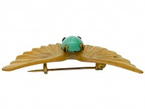 Art Nouveau Carved Horn Wings Brooch