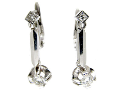 Art Deco 18ct White Gold Diamond Drop Earrings