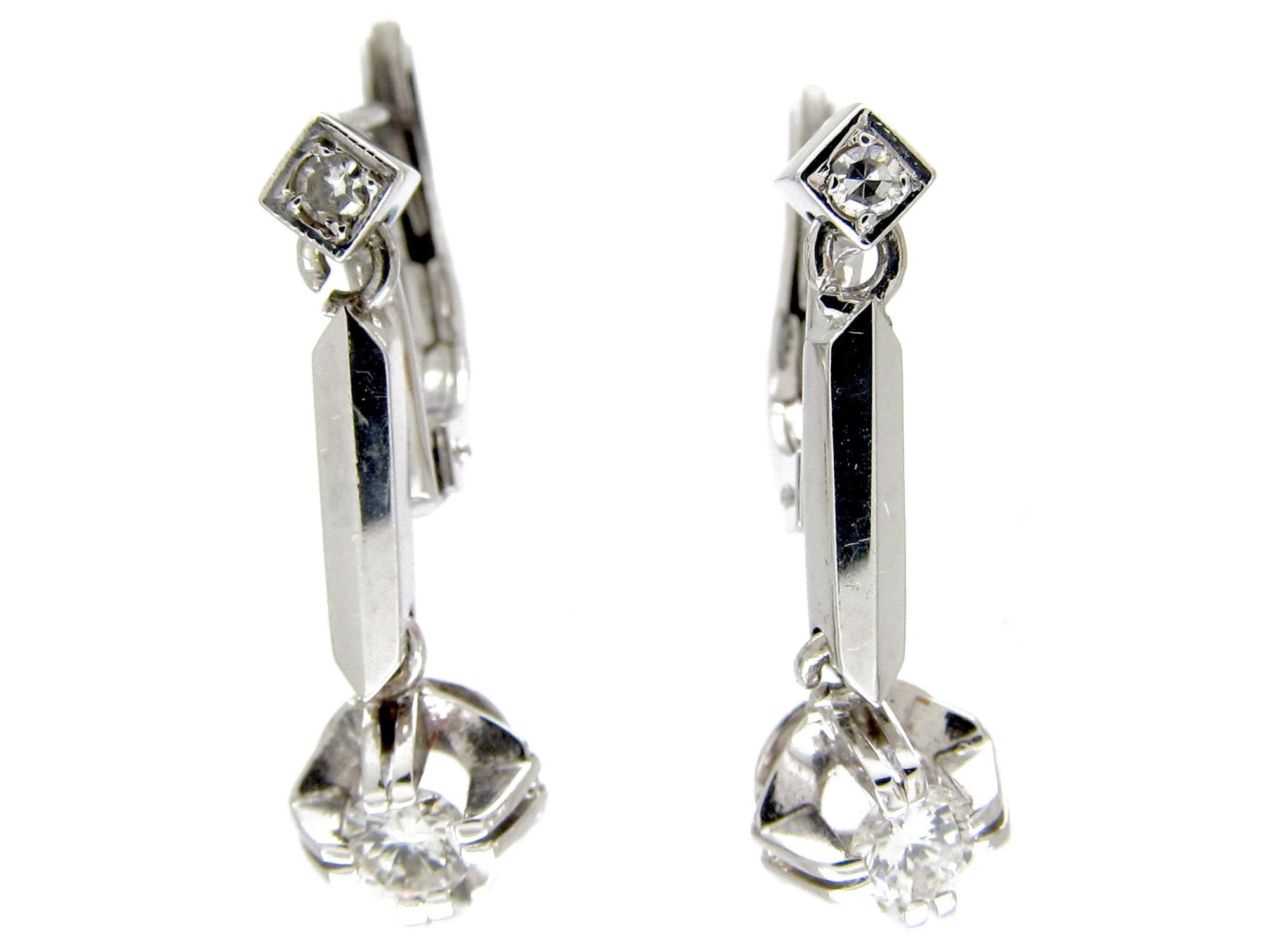 Art Deco 18ct White Gold Diamond Drop Earrings
