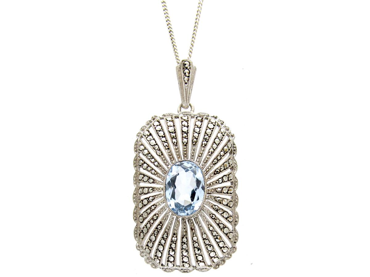 Art Deco Silver & Marcasite Pendant on Silver Chain