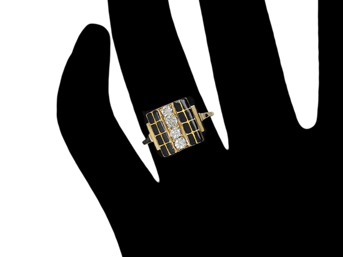 Art Deco Black Enamel & Diamond Ring