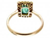 Emerald & Diamond Art Deco Rectangular Ring