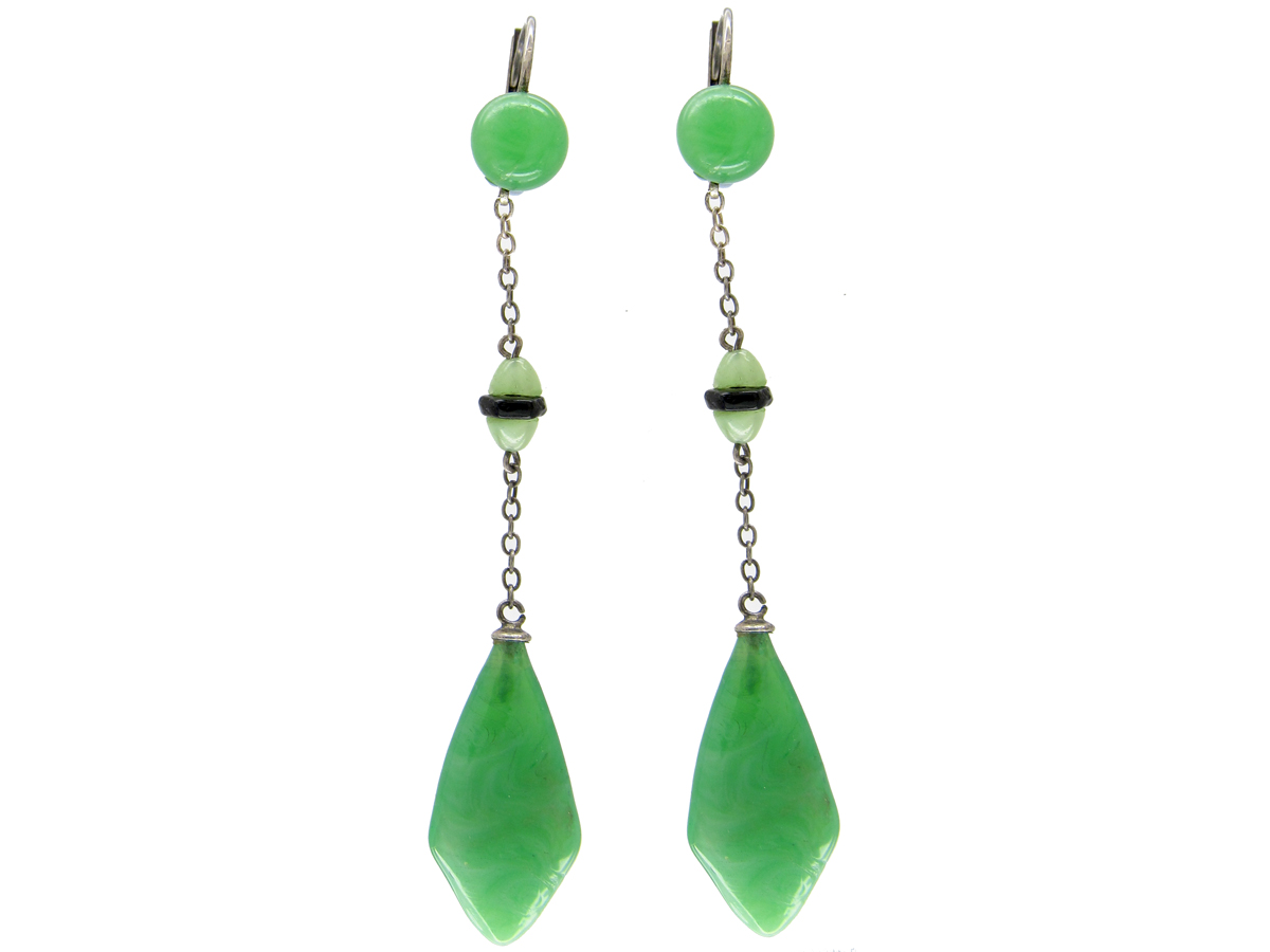 Art Deco Silver & Green Glass Earrings
