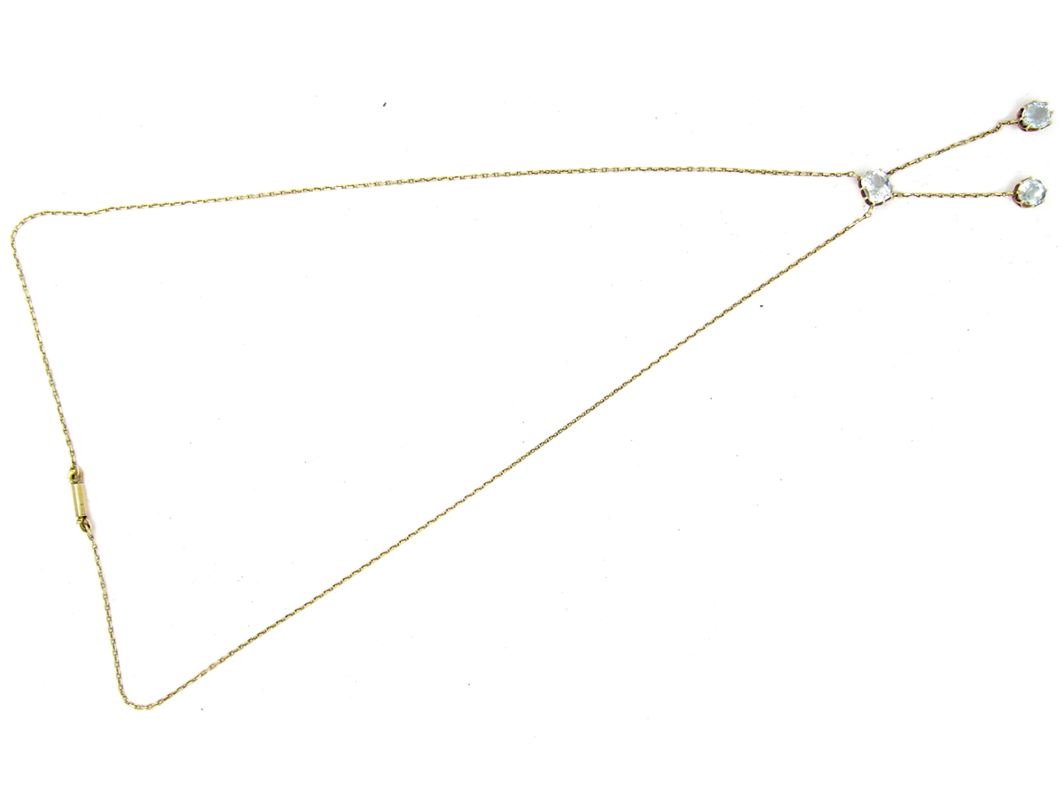 Russian Double Drop 14ct Gold Aquamarine Pendant